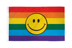 Rainbow Happy Face Flag