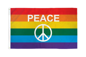 Rainbow Peace Sign Waterproof Flag