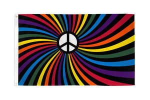 Rainbow Peace Swirl Waterproof Flag
