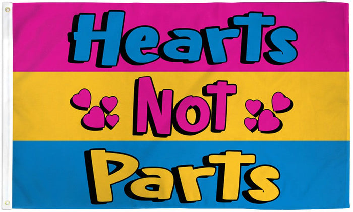 Hearts Not Parts (Pansexual) Waterproof Flag