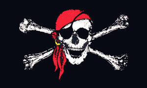 Pirate flags-Red Bandanna Jolly Roger Flag 3x5ft