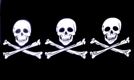 3x5ft Polyester Pirate 3 Skulls and Crossbones Flag