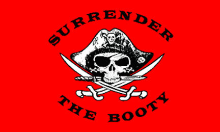3x5ft Polyester Red Pirate Surrender The Booty Flag