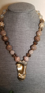 Brown Multi Color Gold Half Face Necklace