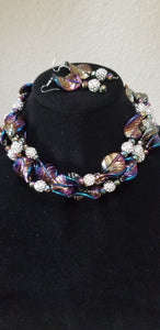 Purple Multi Color Leaf Rhinestone Choker Necklace