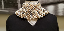 Load image into Gallery viewer, Pearl, Gold & Blue Choker Necklace - SOLD