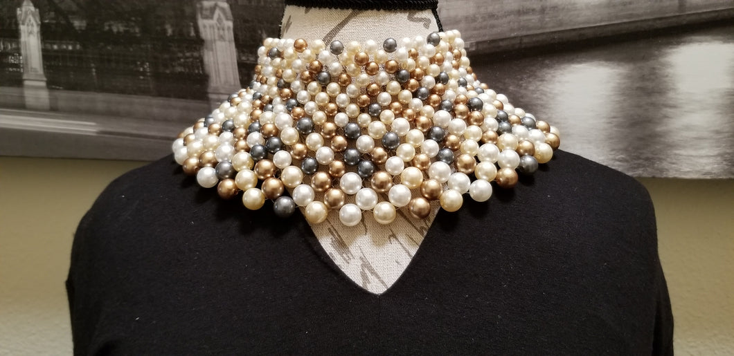 Pearl, Gold & Blue Choker Necklace - SOLD