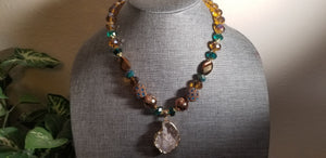 Natural Raw Agate Stone Necklace - Turquoise Gold Brown