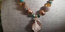 Load image into Gallery viewer, Natural Raw Agate Stone Necklace - Turquoise Gold Brown