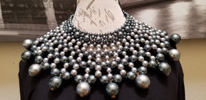 Pearl Bib Two-Toned Gray Necklace