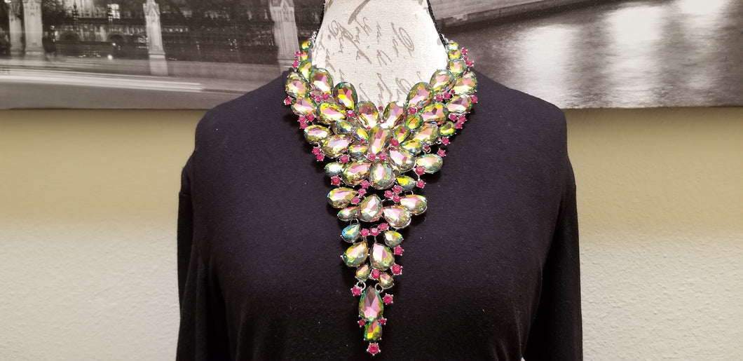 Multi Color Rhinestone Drop Necklace