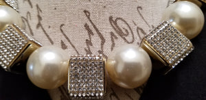 Rhinestone Pearl Square Choker Necklace