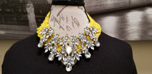 Load image into Gallery viewer, Yellow Mesh Rhinestone Necklace