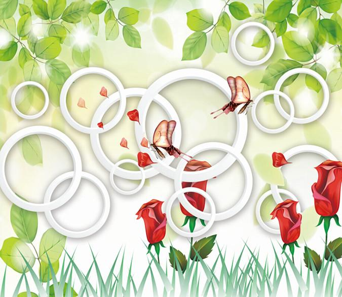 3D Red Charming Flowers And Butterfly Wallpaper AJ Wallpaper 1