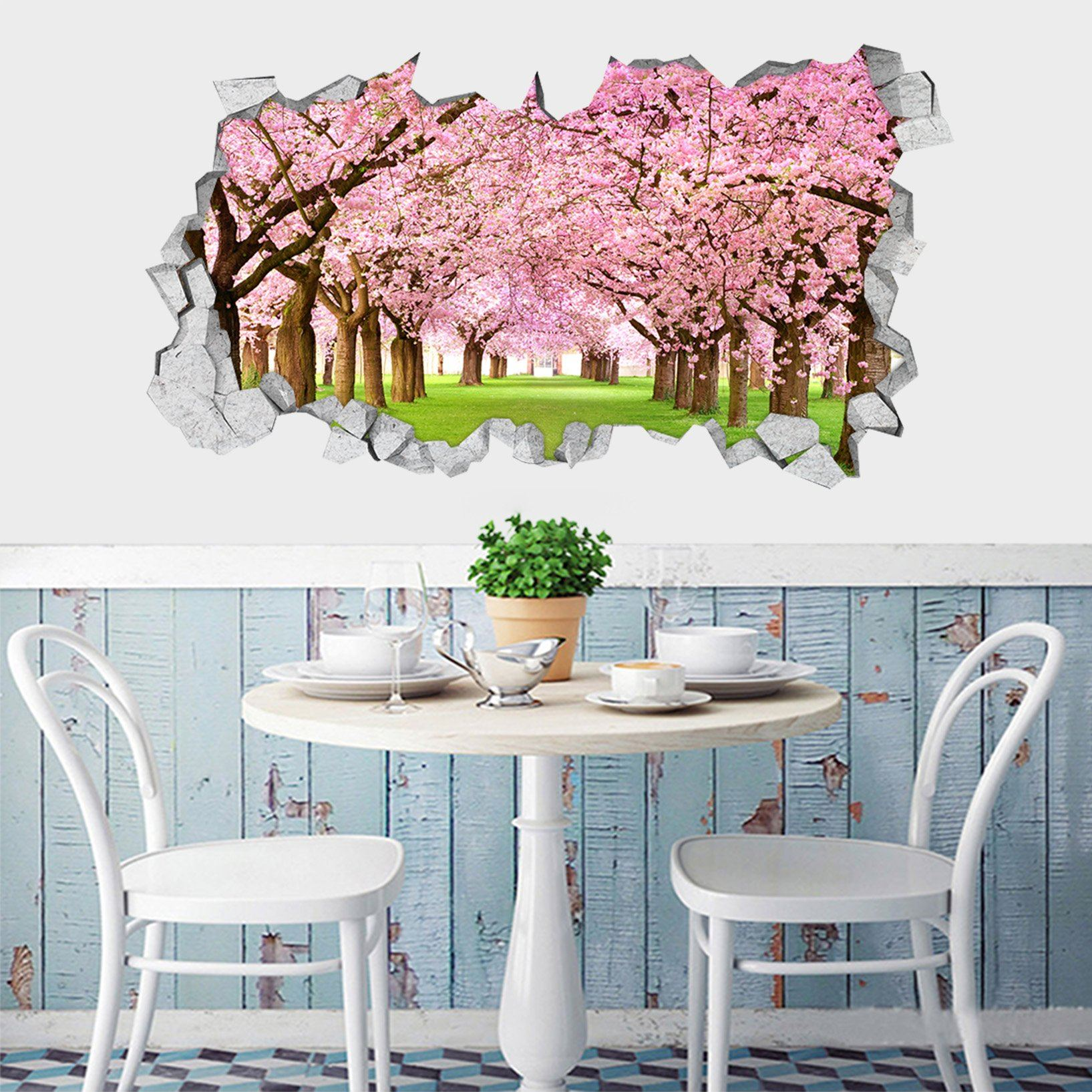 3D Flowering Trees 126 Broken Wall Murals Wallpaper AJ Wallpaper