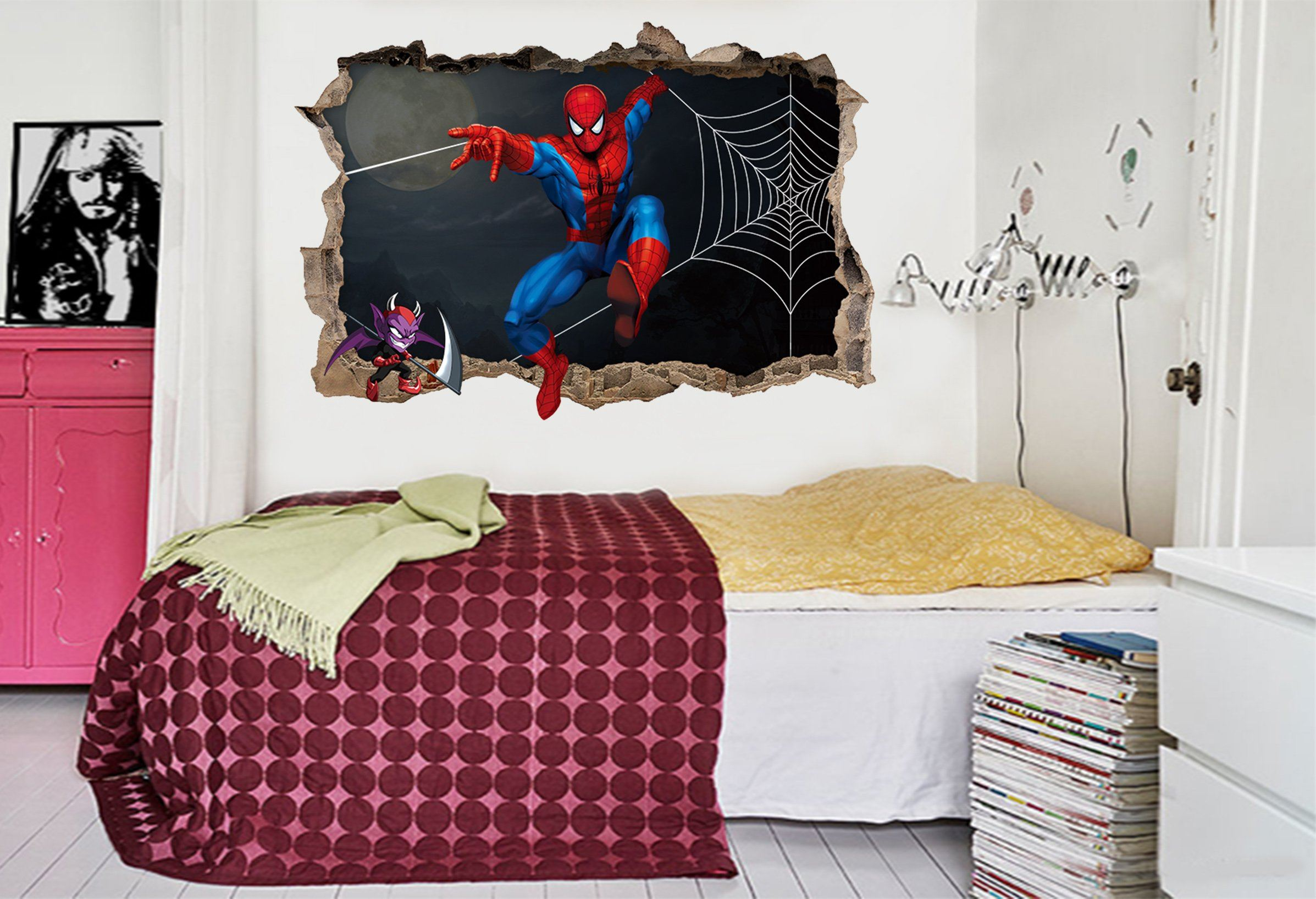 3D Cartoon Hero 076 Broken Wall Murals