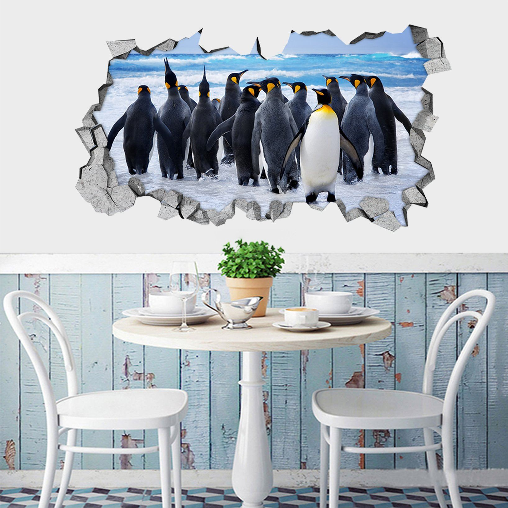 3D Seaside Penguins 148 Broken Wall Murals