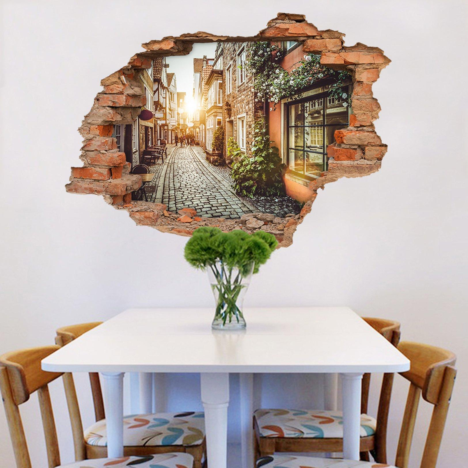 3D Pretty City Alley 223 Broken Wall Murals Wallpaper AJ Wallpaper