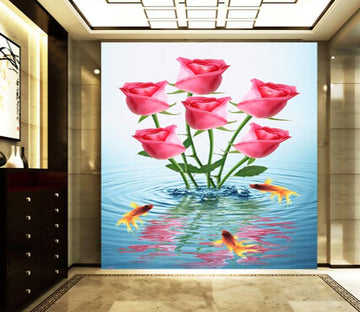 3D Goldfish Reflection Ripple Rose Porch Wallpaper AJ Wallpaper 1