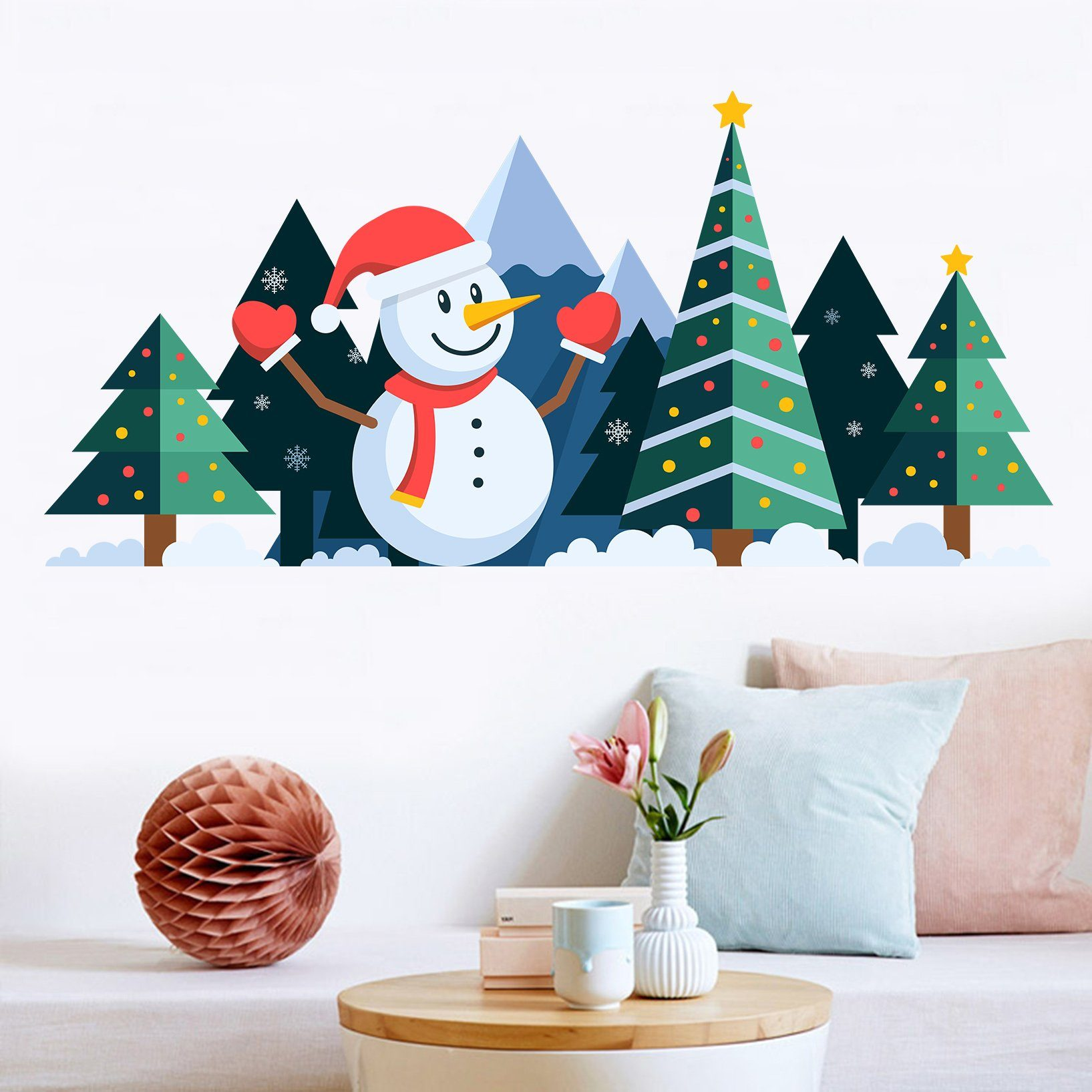 3D Christmas Tree Colored Dots 19 Wall Stickers