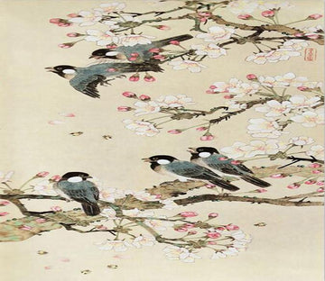 3D Bird painting elegant flower Wallpaper AJ Wallpaper 1