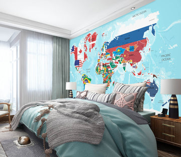 3D Color Painting 2165 World Map Wall Murals