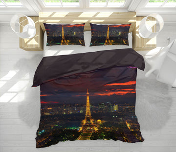 3D Gold Tower Sunset 031 Marco Carmassi Bedding Bed Pillowcases Quilt