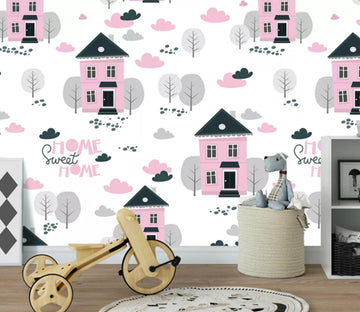 3D Pink House WC1517 Wall Murals