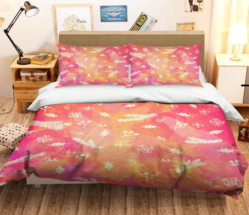 3D Christmas Falling Leaves 20 Bed Pillowcases Quilt
