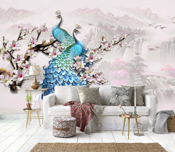 3D Flower Peacock 1456 Wall Murals