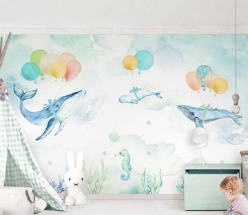 3D Balloon Dolphin WC214 Wall Murals