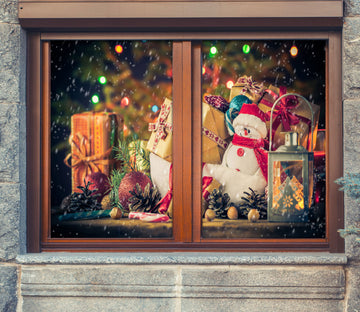 3D Christmas Gift 42186 Christmas Window Film Print Sticker Cling Stained Glass Xmas