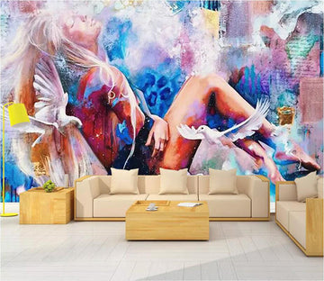 3D Color Lady 1468 Wall Murals