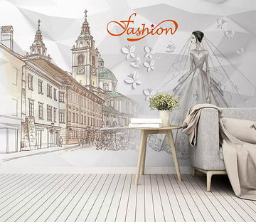 3D Urban Wedding Dress 1391 Wall Murals