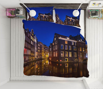3D Amsterdam Night 001 Marco Carmassi Bedding Bed Pillowcases Quilt