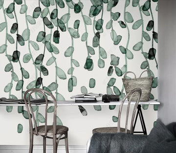 3D Green Leaf 1876 Wall Murals