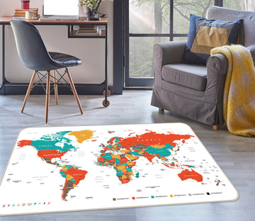 3D Color Clouds 252 World Map Non Slip Rug Mat