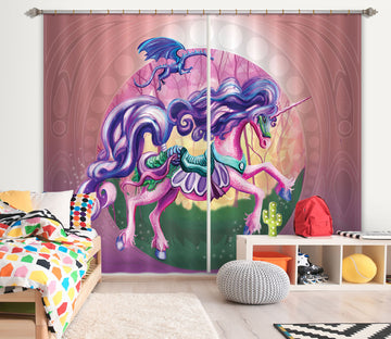 3D Anime Unicorn 121 Rose Catherine Khan Curtain Curtains Drapes