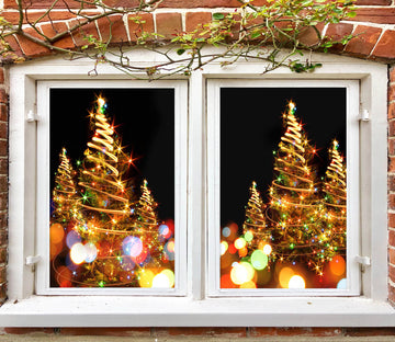 3D Christmas Tree Aperture 42164 Christmas Window Film Print Sticker Cling Stained Glass Xmas