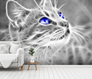 3D Blue Eyes Cat 437 Wall Murals