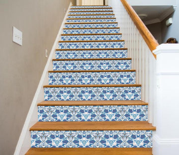 3D Blue Crystal 2821 Marble Tile Texture Stair Risers Wallpaper AJ Wallpaper