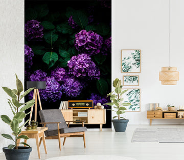 3D Purple Flower Ball 1399 Noirblanc渡部陽 Wall Mural Wall Murals