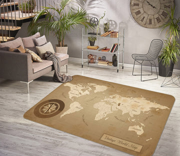 3D Reflection 326 World Map Non Slip Rug Mat