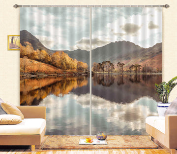3D Autumn Lake 072 Assaf Frank Curtain Curtains Drapes