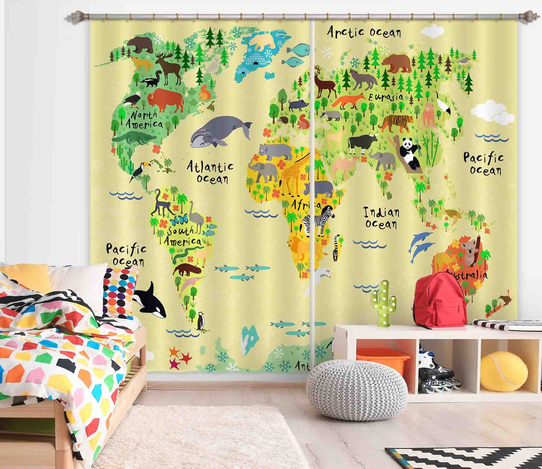 3D Forest Map 803 Curtains Drapes