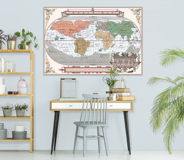 3D Colored Island 216 World Map Wall Sticker
