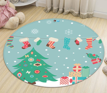 3D Christmas Tree Sock 071 Round Non Slip Rug Mat Mat AJ Creativity Home