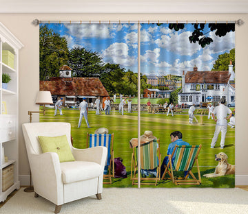 3D Lawn People Play 8942 Trevor Mitchell Curtain Curtains Drapes