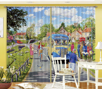 3D The Village Bus Stop 112 Trevor Mitchell Curtain Curtains Drapes