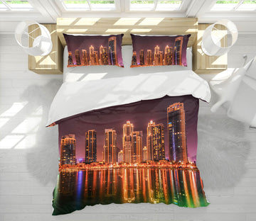 3D Dubai By Night 024 Marco Carmassi Bedding Bed Pillowcases Quilt